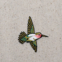 Small - Ruby Red Throat Hummingbird - Flying LEFT or RIGHT - Iron on Applique - Embroidered Patch