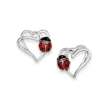 15mm Heart and Enameled Ladybug Post Earrings in Sterling Silver