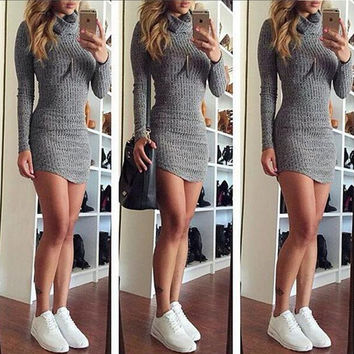 grey s-XL 2016 new fall winter style full-sleeve women dress turtleneck sheath sexy night club elegant women mini dresses XD133