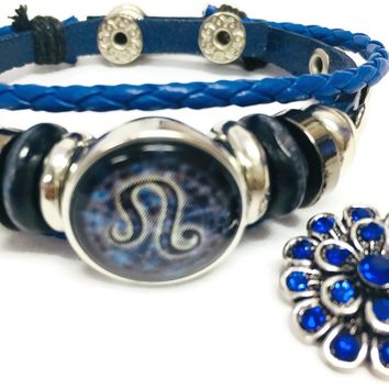 Horoscope Zodiac Leo Sign Snap Blue Leather Bracelet  With Bonus Extra 18MM - 20MM Charm New Item