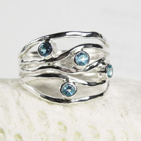 Blue Topaz Ring - December Birthstone Jewelry - Unique Artisan Gemstone Jewelry - Sterling Silver Ring - Turquoise Wave - Ocean Ripple