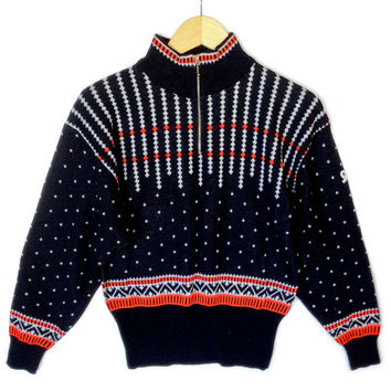 Vintage 80s Demetre Zip Collar Ugly Ski Sweater