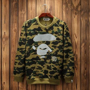 DCCKUH3 Bape Round neck 3m reflective camouflage printing plus cashmere