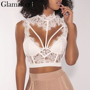 Glamaker Hollow out lace up cami lace top Women backless sexy crop top Female turtleneck winter party camisole tank top tee