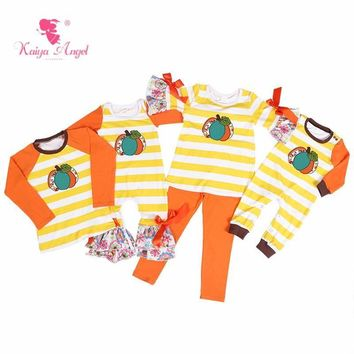 Kaiya Angel Halloween Costumes Pumpkin Yellow White Strips Orange Bow Newborn Baby Rompers Baby Girl Boy Summer Winter Clothes