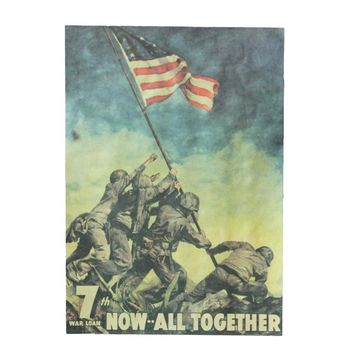 The American Flag At Iwo Jima On World War II / Nostalgia Kraft Paper Wall Stickers Posters 51x35.5cm