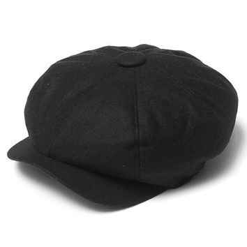 Men Women Black Gatsby Cap Newsboy Hat Beret Duckbill Golf Driving Flat Cabbie Hat