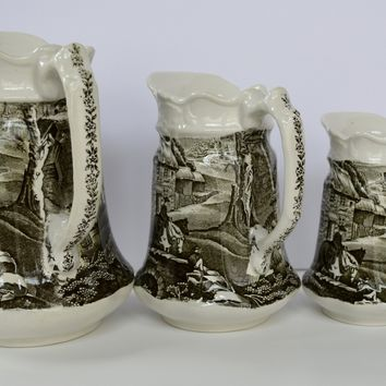 Set of 3 Graduating Sizes Black Transferware Pitcher Pastoral English Village & Horses by James Kent