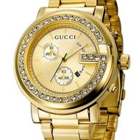 Gucci Trending Unisex Watch Dial Edge Diamond Quartz Watches Wrist Watch Gold I