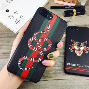 Hot Sale For iphone X Silicone Embroidere Cover Luxury Grid Relief Snake Soft Phone Case For iphone 6 6plus 7/8plus Fitted Case