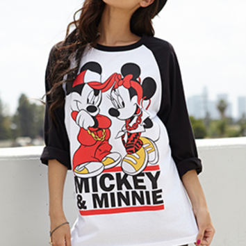 Mickey & Minnie Mouse Raglan Top