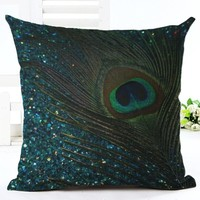Fashion Style Pretty Peacock Chair  Decorative Cushion Sofa Throw Pillow Square Cojines Cotton Linen Fundas