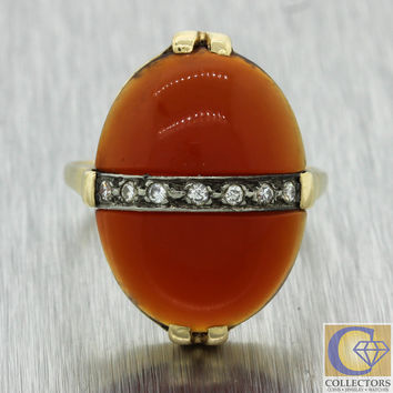 1920s Antique Art Deco 14k Solid Yellow Gold Red Carnelian .14ctw Diamond Ring