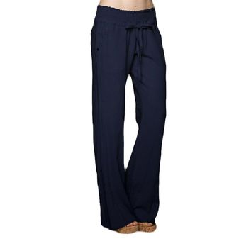Banded Waist Linen Pants, Navy