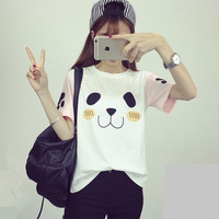 2016 Women's T-Shirt Summer Kawaii Panda Bear Top Crew Neck With Tee Color Block Patchwork Bottoming Classic Clothes
