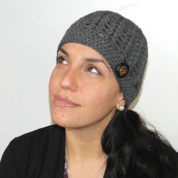 Hand crochet dark grey hat, women's beanie, shell stitch Beanie Hat, dark grey, black gold button