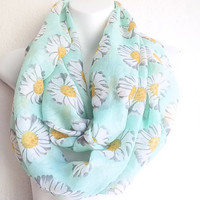 Daisy Mint Scarf, Spring Scarves, Chevron scarfs, Loop scarf,  Infinity mint scarf, Flower Scarf, Coral Infinity scarf, Mothers Day Gift