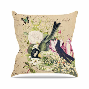 "Suzanne Carter ""Vintage Tea"" Bird Illustration Outdoor Throw Pillow"