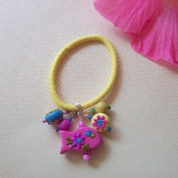 Girls Beaded Ponytail Holder - yellow, pink and blue polymer clay fish and flower beads