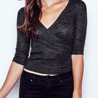 MARLED RIBBED KNIT WRAP TOP - PROMO 50% OFF