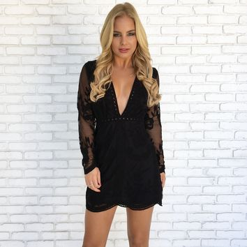 Sweeter Than Wine Lace Dress in Black