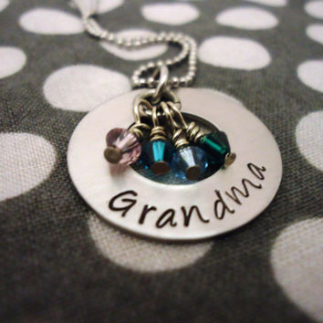 Personalized Necklace Grandma with birthstones - Hand Stamped Stainless Steel
