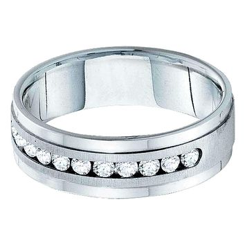 14kt White Gold Men's Round Diamond Wedding Band Ring 1.00 Cttw - FREE Shipping (US/CAN)