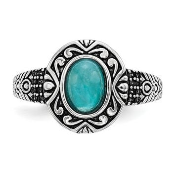 Sterling Silver Antiqued Finish Turquoise Ring