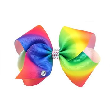 8 Inch Large Rainbow  Hair Bow  Dance Girls  Kids Hair Clip Accessories
