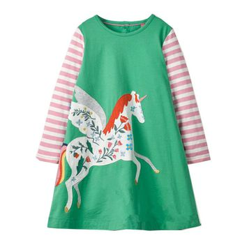 Unicorn Party Girls Dress Children Autumn Winter Kids Dresses for Girls Clothes Animal Applique Baby Dress Princess Costume