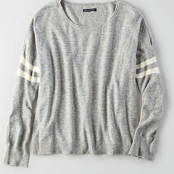 AEO Striped Easy Sweater, Gray