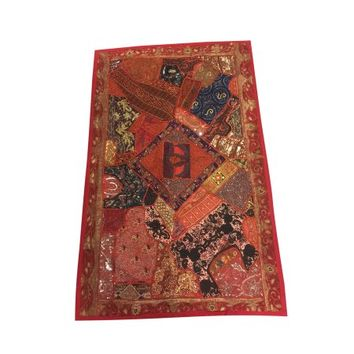 Mogul Decor Tapestry Hand Crafted Maroon Sequin Embroidered Patchwork Table Runner Wall Hanging 70x 48 - Walmart.com