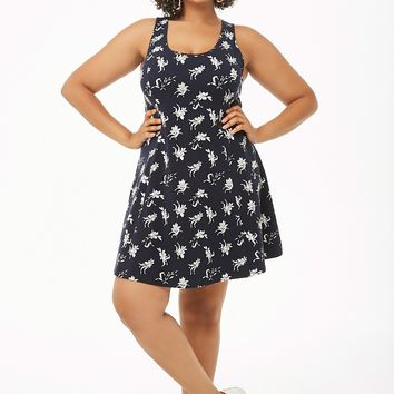 Plus Size Floral Print Skater Dress