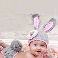 Pink / Grey Bunny Knit Outfit Set - CCA48