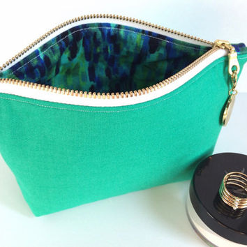 Turquoise Makeup Bag, Mini Cosmetic Bag, Small Cosmetic Bag, Small Makeup Bag, Small Zipper Pouch