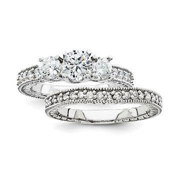 Certified 1.15 Ct. Diamond Engagement Ring with Side Stones Set 14K White Gold