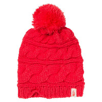 The North Face Women's Triple Cable Pom Melon Red Beanie Hat OS