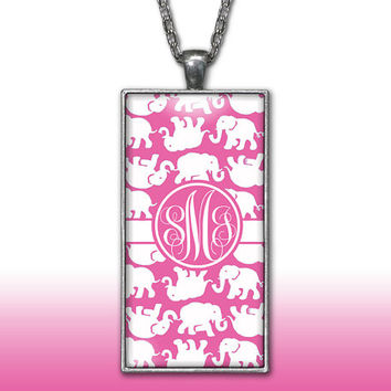 Elephants Monogram Pendant Charm Necklace Hot Pink Personalized Custom Initial Necklace Monogram Jewelry