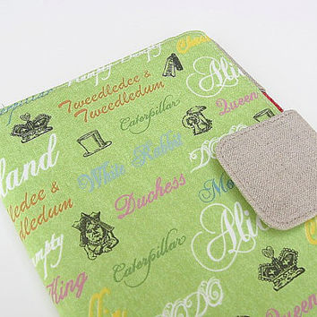 Nook Simple Touch Cover Kindle Fire Cover iPad Mini Cover Kobo Cover Case Alice in Wonderland Green Katydidstitches
