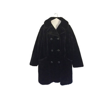 Vintage Plus Size Faux Fur Coat Black Faux Fur Coat Size 22 Women Clothing Plus Size Clothing Plus Size Clothes Women Winter Coat 60s Coat