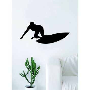 Surfer Silhouette Quote Wall Decal Sticker Bedroom Living Room Art Vinyl Teen Sports Ocean Beach Surf Waves Extreme