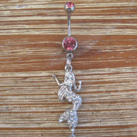 Belly Button Ring - Body Jewelry - Mermaid with Double Pink Gem Stones Belly Button Ring