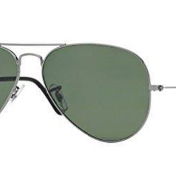 Ray Ban Rb 3025 004/58 Gunmetal Large Aviator Sunglasses With Natural Green Polarized Lenses 62mm