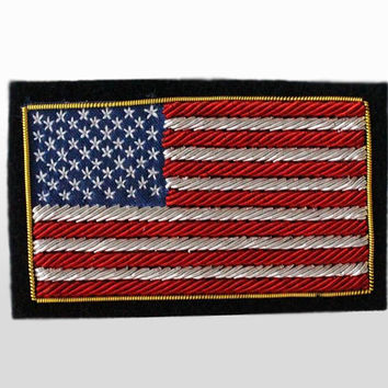 US Flag Patch  - American  Flag Bullion Crests / Hand Embroidered Blazer Patches