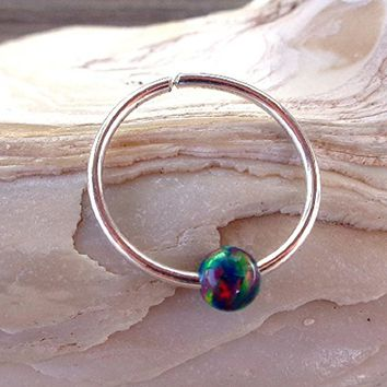 Seamless,Endless Fire Opal,Beaded Hoop,Ring,Segment Hoop,Earring