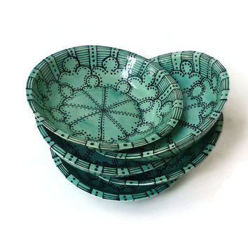 5 Turquoise and Black Doodle Design Bowls - Ring Bowl Prep Bowls