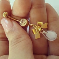 Bow Belly Button Ring Navel Jewelry Piercing- Gold Clear White CZ Gem Dangle Bowtie Charm