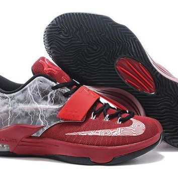 DCCKIJ2 Nike Men's Durant Zoom KD 7 Basketball Shoes Grey Red