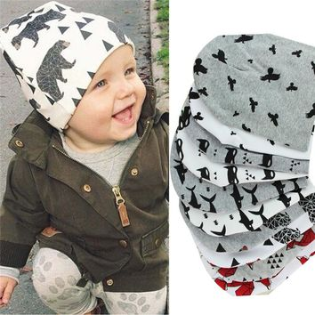 2016 Brand Baby Cap Cartoon Animal Double Printting Cotton Knit Beanie Hats For Toddler Boy Girls Spring Autumn Winter Headwear