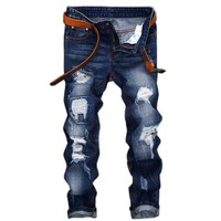 jeans  men high quality men's jeans 2017new casual robin hole  balmai jeans  biker Straight  homme balmai jeans men
